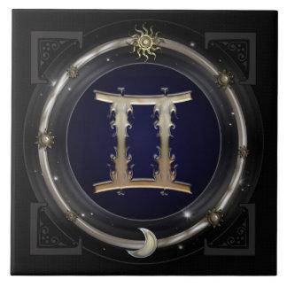 Muestra del zodiaco de los géminis azulejo cuadrado grande