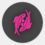 Muestra del zodiaco de los pescados de Piscis de l Etiqueta Redonda
