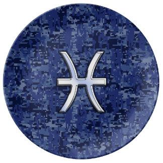 Muestra del zodiaco de Piscis en los azules Plato De Cerámica