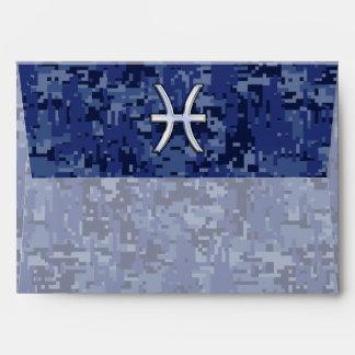 Muestra del zodiaco de Piscis en los azules Sobre