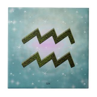 Muestra del zodiaco del acuario del color de la azulejo cuadrado pequeño