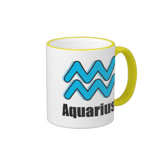 Muestra del zodiaco del acuario tazas de café