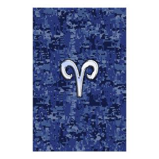 Muestra del zodiaco del aries en los azules folleto 14 x 21,6 cm