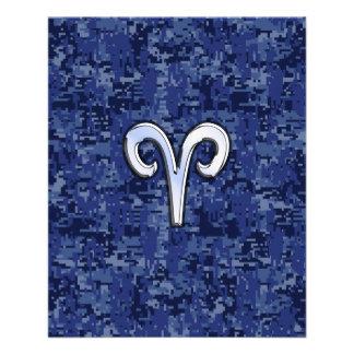 Muestra del zodiaco del aries en los azules folleto 11,4 x 14,2 cm