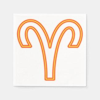 Muestra del zodiaco del aries servilletas de papel