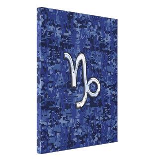 Muestra del zodiaco del Capricornio en camo Impresión En Lienzo Estirada