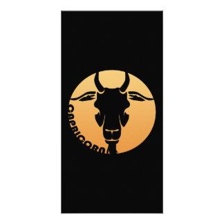 Muestra del zodiaco del Capricornio Tarjetas Fotograficas Personalizadas