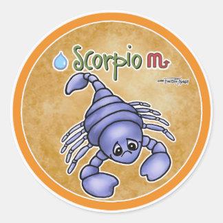 Muestra del zodiaco del escorpión - horóscopo pegatina redonda