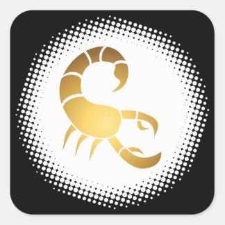 Muestra del zodiaco del escorpión pegatina cuadrada