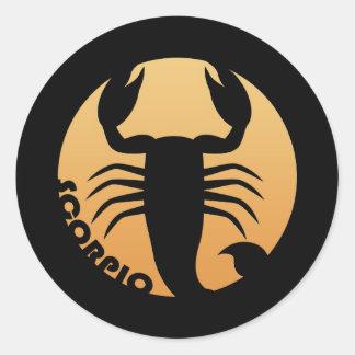 Muestra del zodiaco del escorpión pegatina redonda