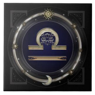 Muestra del zodiaco del libra azulejo cuadrado grande