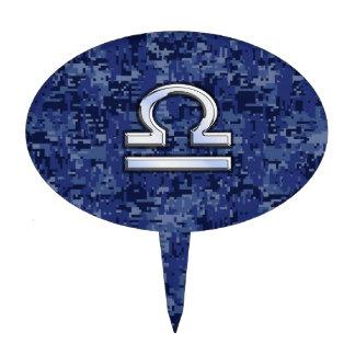 Muestra del zodiaco del libra en el camuflaje azul decoraciones para tartas
