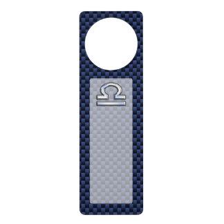 Muestra del zodiaco del libra en estilo azul de la colgadores para puertas