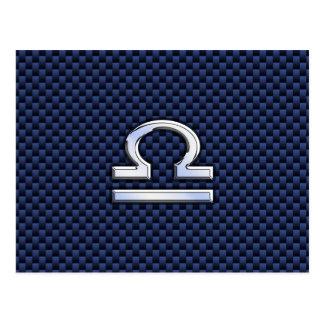 Muestra del zodiaco del libra en estilo azul de la tarjeta postal