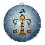 Muestra del zodiaco del libra tablero de dardos