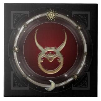 Muestra del zodiaco del tauro azulejo cuadrado grande