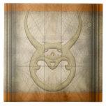 Muestra del zodiaco del tauro tejas  cerámicas