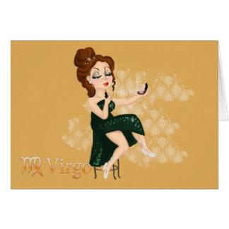 Muestra del zodiaco del virgo del horóscopo de la tarjeta de felicitación