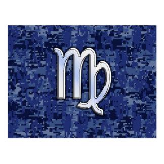 Muestra del zodiaco del virgo en el camuflaje azul postal