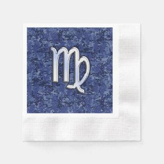 Muestra del zodiaco del virgo en el camuflaje azul servilleta de papel