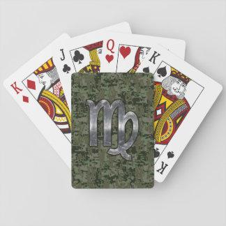 Muestra del zodiaco del virgo en el verde verde baraja de póquer
