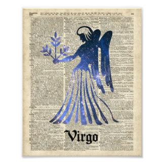 Muestra del zodiaco del virgo virginal sobre una cojinete