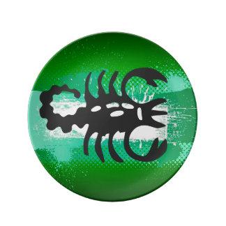 Muestra del zodiaco, placa del escorpión, plato de cerámica
