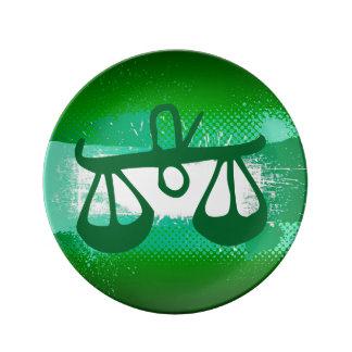 Muestra del zodiaco, placa del libra, verde/negro platos de cerámica