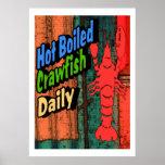 Muestra diaria hervida caliente de los cangrejos impresiones