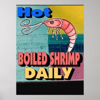 Muestra diaria hervida caliente del camarón póster