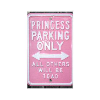 Muestra divertida de princesa Parking Only Impresion De Lienzo