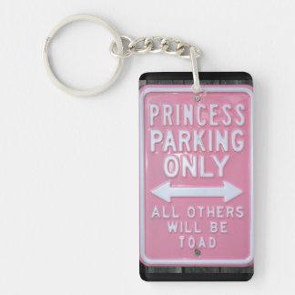 Muestra divertida de princesa Parking Only Llavero Rectangular Acrílico A Una Cara