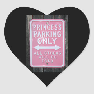 Muestra divertida de princesa Parking Only Colcomanias Corazon Personalizadas