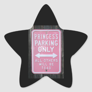 Muestra divertida de princesa Parking Only Colcomanias Forma De Estrellaes
