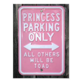 Muestra divertida de princesa Parking Only Fotografias