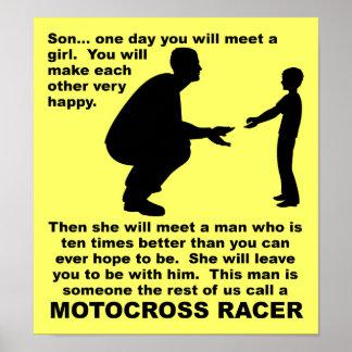Muestra divertida del consejo del motocrós de la póster