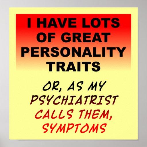 Muestra divertida del poster de los síntomas de la
