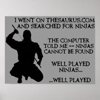 Muestra divertida del poster de Ninjas Ninja del t