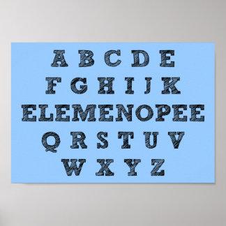 Muestra divertida del poster del alfabeto de Eleme