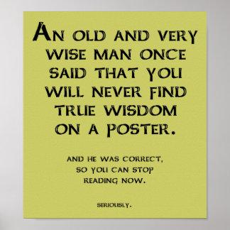 Muestra divertida del poster del consejo sabio