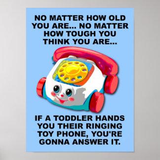 Muestra divertida del poster del teléfono del niño