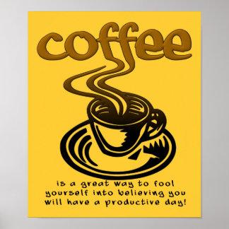 Muestra divertida del poster del tonto del café