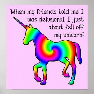 Muestra divertida del poster del unicornio