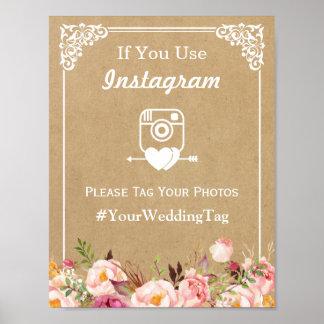 Muestra el | Kraft floral del boda de Instagram Póster