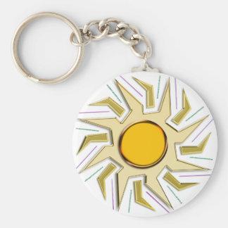 Muestra estupenda metálica de Sun del oro Llavero Redondo Tipo Pin