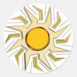 Muestra estupenda metálica de Sun del oro Etiquetas Redondas