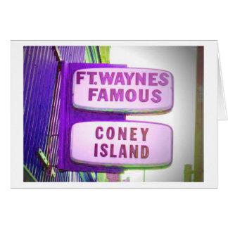 Muestra famosa de Waynes Coney Island del fuerte Tarjeta De Felicitación