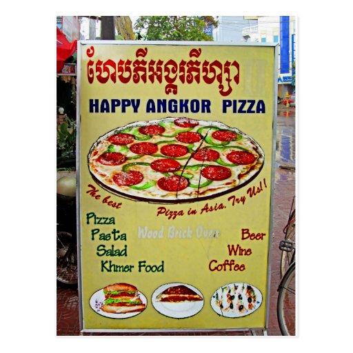 Muestra feliz de la pizza de Angkor Tarjeta Postal