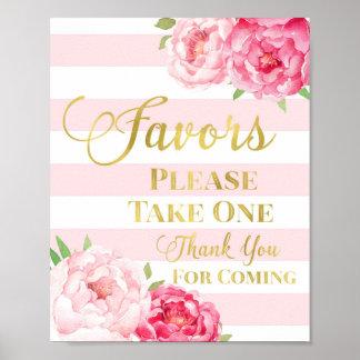 Muestra floral de los favores de la acuarela póster