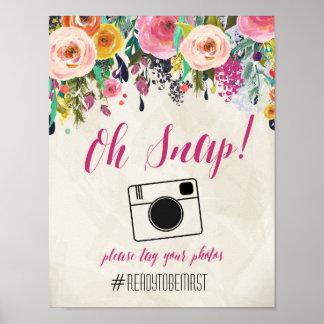 Muestra floral del boda de Hashtag de la acuarela Póster
